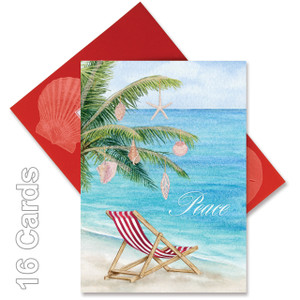 "Christmas Cards ""Shells on a Palm Tree"" - Peace - Box of 16 - 27-101"