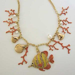Gold Tone Nautical Necklace 43487