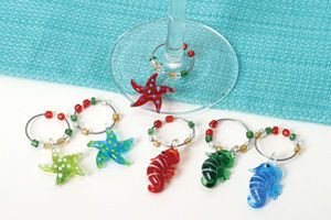 Sea Horse and Starfish Art Glass Wine Markers Charms Set of 6 - 46839