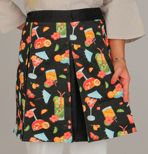 """Apron """"Tropical Cocktails"""" Pleated Fabric Hostess Style - 73617"""