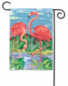 "Pink Flamingo ""Flamingos in Paradise"" House Flag 28"" x 40"" 96811"
