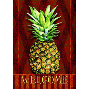 "Pineapple Damask Garden Flag ""Welcome"" - 111245"