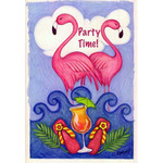 "Pink Flamingo Garden Flag ""Party Time"" - 112074"
