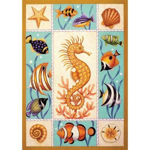 Seahorse and Fish Garden Flag 112593