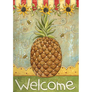 """Pineapple and Sunflowers Garden Flag """"Welcome"""" - 119117"""