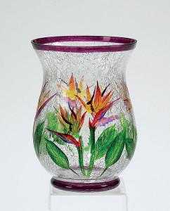 Bird of Paradise Large Glass Jar Pillar Candle Holder - 749821