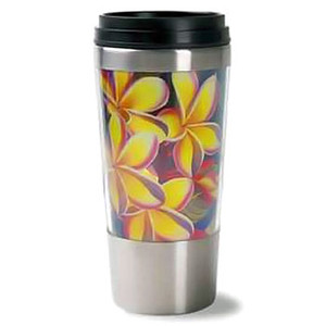 Plumeria Flower Stainless Steel Thermal Tumbler Travel Mug - 02420000