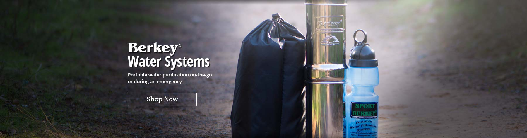 Berkey Water Systems - Portable water purification on-the-go or during an emergency.