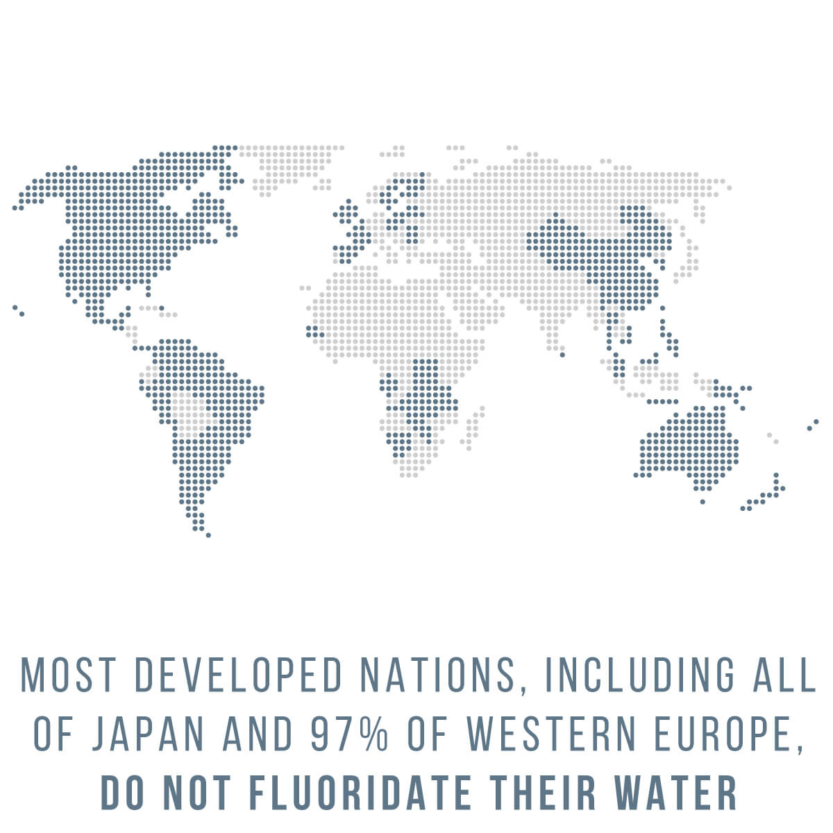 Most developed nations, including Japan and 97% of western Europe, do not fluoridate their water.