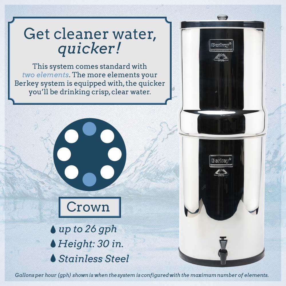 Royal Berkey Water Filter Purification 4 Black 4 PF 2 Stainless Steel Spigot