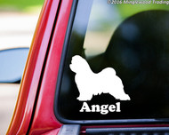 MALTESE with Personalized Name Vinyl Sticker - The Lion Dog Puppy - Die Cut Decal