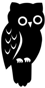 "Owl Vinyl Decal Sticker - Barn Bird Great Horned Spotted Nocturnal 4"" x 2"""