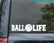 "BALL LIFE Vinyl Decal Sticker 11.5"" x 2.5"" Basketball Hoops"