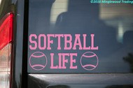 "SOFTBALL LIFE Vinyl Decal Sticker 11"" x 6"" Fastpitch"