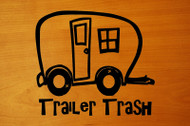 "Trailer Trash - Camping Travel Trailer Park RV Vinyl Decal Sticker - 6"" x 5.25"""