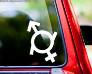 "Gender Fluid Symbol Sign vinyl decal sticker 5"" x 3.5"" Male Female Neutrois Nonbinary"