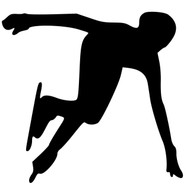 "Speed Skater Ice Vinyl Decal Sticker - Short Track Speedskating 5"" x 4.75"""