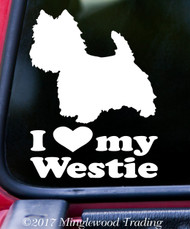 "I LOVE MY WESTIE Vinyl Decal Sticker 5"" x 6.5"" West Highland White Terrier - Westy"