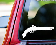 "FLINTLOCK PISTOL Vinyl Decal Sticker 8"" x 3.5""  Black Powder Gun - Pirate"