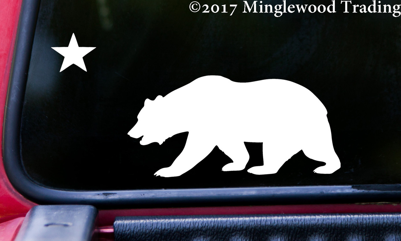 CALIFORNIA BEAR With STAR Vinyl Decal Sticker 8 X 4 Grizzly Bear Flag