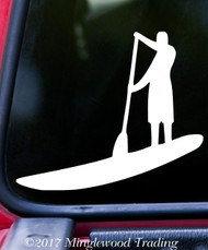 "SUP Stand Up Paddle Board Vinyl Decal Sticker 5"" x 4.25"" Paddling MAN"