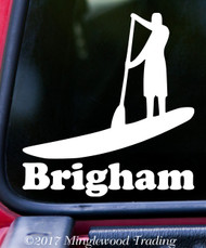 "SUP Stand Up Paddle Board Vinyl Decal Sticker w/ Custom Name 5"" x 5.5"" Paddling MAN"