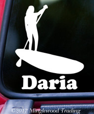 "SUP Stand Up Paddle Board Vinyl Decal Sticker w/ Custom Name 5"" x 6"" Paddling WOMAN"