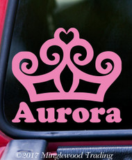 "TIARA PRINCESS CROWN with Custom Name Vinyl Decal Sticker 5"" x 5"" Personalized"