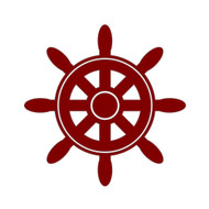 "Ship's Wheel Vinyl Decal Sticker - Boat Helm Sailing Sailboat Yacht 5"" x 5"""