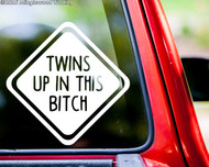 "TWINS UP IN THIS BITCH Vinyl Decal Sticker 6"" x 6"" Car Window Truck Minivan"
