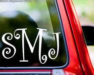 "Custom MONOGRAM Vinyl Decal Sticker 6"" x 12"" Name Initials CURLY"