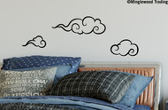 """Set of 3 CHINESE or JAPANESE CLOUDS Wall Vinyl Decal Stickers - Wind 13"""" Kid Baby Room"""