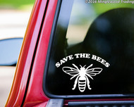 """SAVE THE BEES Vinyl Decal Sticker 7"""" x 5"""" Pollinators Beehive Flowers"""