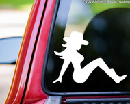 "Mudflap Cowgirl - Trucker Girl Lady Country Truck Vinyl Decal Sticker - 5"" x 3.5"""