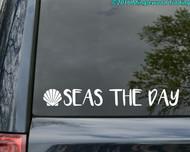 """SEAS THE DAY Vinyl Decal Sticker 20"""" x 2.5"""" Seize Carpe Diem Beach Ocean Shell"""