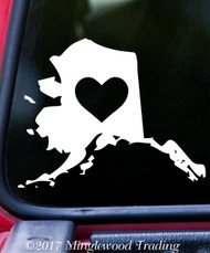 "ALASKA HEART State Vinyl Decal Sticker 7"" x 5.5"" Love"