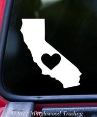 "CALIFORNIA HEART State Vinyl Decal Sticker 7"" x 6"" Love CA"
