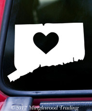 "CONNECTICUT HEART State Vinyl Decal Sticker 6"" x 4.5"" Love CT"
