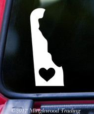 "DELAWARE HEART State Vinyl Decal Sticker 7"" x 3"" Love DE"