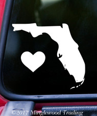"FLORIDA HEART State Vinyl Decal Sticker 6"" x 5.5"" Love FL"