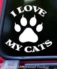 "I LOVE MY CATS Vinyl Decal Sticker 5"" x 5"" Kittens"