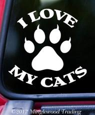 "I LOVE MY CATS Vinyl Decal Sticker 5"" x 5"" Kittens"