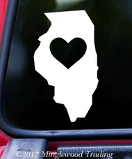"ILLINOIS HEART State Vinyl Decal Sticker 6"" x 3.5"" Love IL"