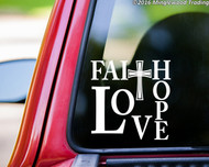 "FAITH HOPE LOVE 8"" x 8"" Vinyl Decal Sticker - Cross"