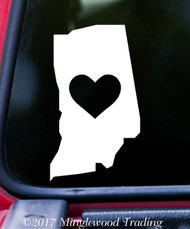 "INDIANA HEART State Vinyl Decal Sticker 6"" x 4"" Love IN"