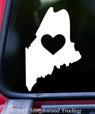 "MAINE HEART State Vinyl Decal Sticker 6"" x 4"" Love ME"