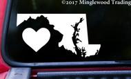 "MARYLAND HEART State Vinyl Decal Sticker 6"" x 3"" Love MD"