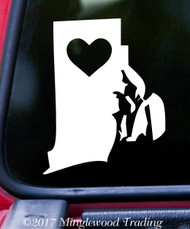 "RHODE ISLAND HEART State Vinyl Decal Sticker 6"" x 4.75"" Love RI"