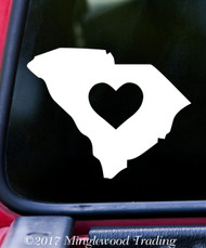 "SOUTH CAROLINA HEART State Vinyl Decal Sticker 6"" x 4.75"" Love SC"