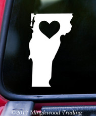 "VERMONT HEART State Vinyl Decal Sticker 6"" x 3.75"" Love VT"